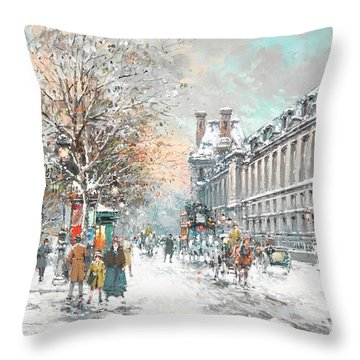 The Louvre-winter Throw Pillow