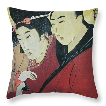 The Lovers Ohan And Chomon  Throw Pillow by Carrie Jackson