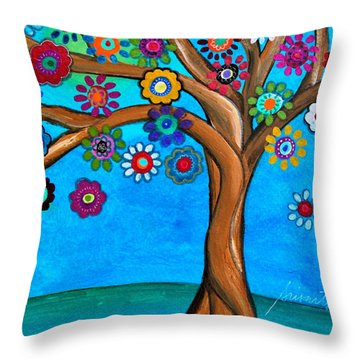 Throw Pillow featuring the painting The Loving Tree Of Life by Pristine Cartera Turkus