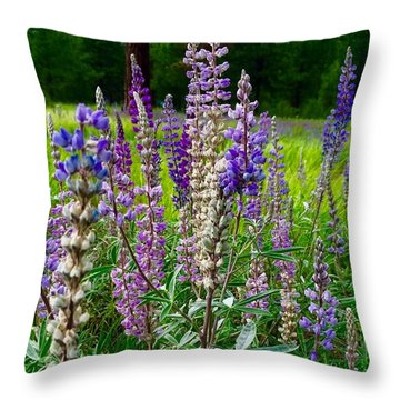 The Lupine Crowd Throw Pillow