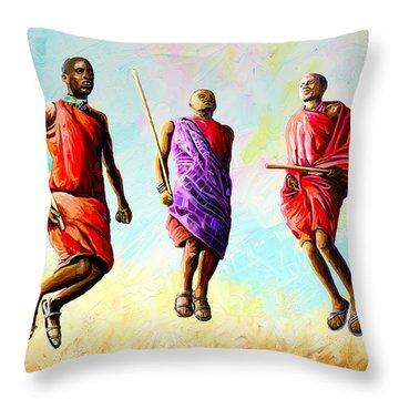 The Maasai Jump Throw Pillow