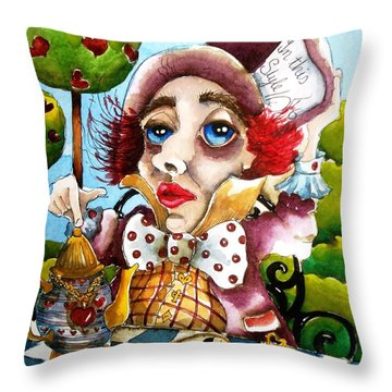The Mad Hatter Throw Pillow by Lucia Stewart