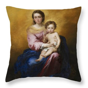 The Madonna Of The Rosary Throw Pillow