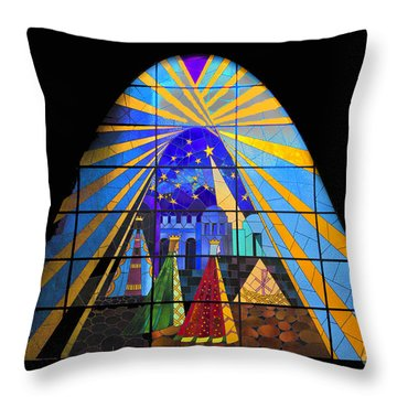 The Magi In Stained Glass - Giron Ecuador Throw Pillow