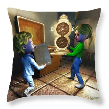 Throw Pillow featuring the painting The Magic Discovery by Dave Luebbert