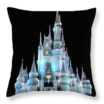 The Magic Kingdom Castle In Frosty Light Blue Walt Disney World Mp Throw Pillow by Thomas Woolworth