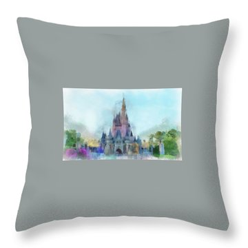 The Magic Kingdom Castle Wdw 05 Photo Art Mp Throw Pillow