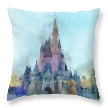 The Magic Kingdom Castle Wdw 05 Photo Art Throw Pillow