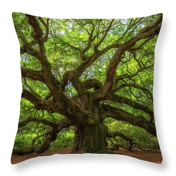 The Magical Angel Oak Tree Panorama  Throw Pillow