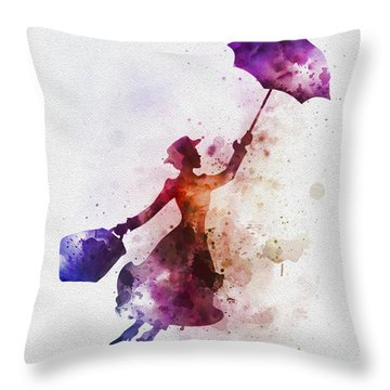 The Magical Nanny Throw Pillow by Rebecca Jenkins