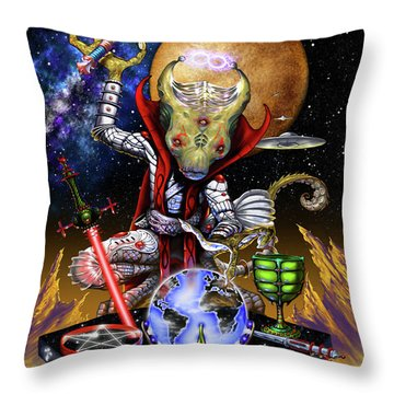 Throw Pillow featuring the digital art The Magician 78 Tarot Astral Card by Stanley Morrison
