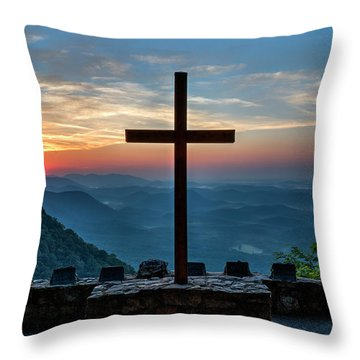 The Magnificent Cross Pretty Place Chapel Greenville Sc Great Smoky Mountains Art Throw Pillow