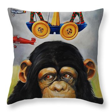 The Magnificent Flying Strauss Throw Pillow by Jean Cormier