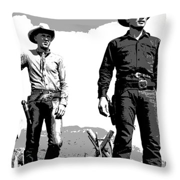 Throw Pillow featuring the mixed media The Magnificent Seven by Charles Shoup