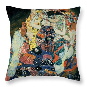 The Maiden Throw Pillow by Gustav Klimt