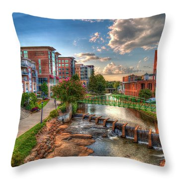 The Main Attraction Reedy River Greenville South Carolina Art Throw Pillow