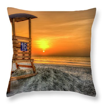 Throw Pillow featuring the photograph The Main Attraction Tybee Island Sunrise Lifeguard Stand Beach Art by Reid Callaway