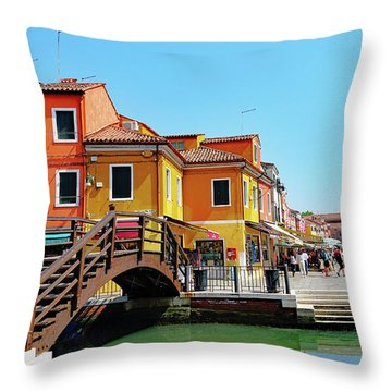 The Main Street On The Island Of Burano, Italy Throw Pillow