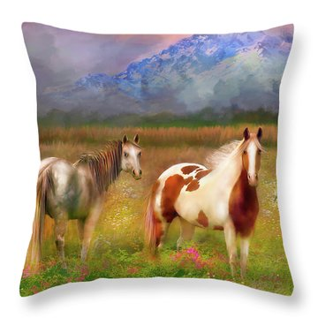 The Majestic Pasture Throw Pillow by Kari Nanstad