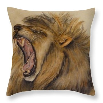 The Majestic Roar Throw Pillow by Kelly Mills