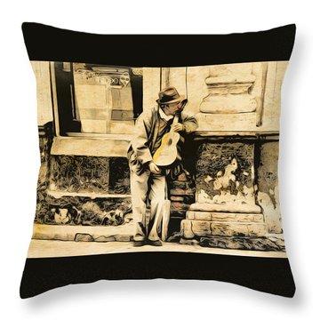 The Malingering Minstrel Throw Pillow