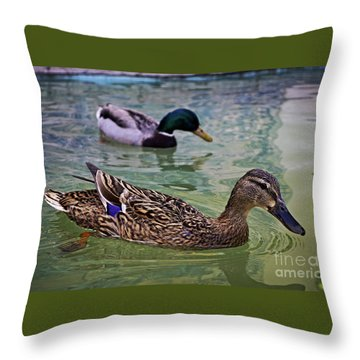 Throw Pillow featuring the photograph The Mallard Pair by Mary Machare