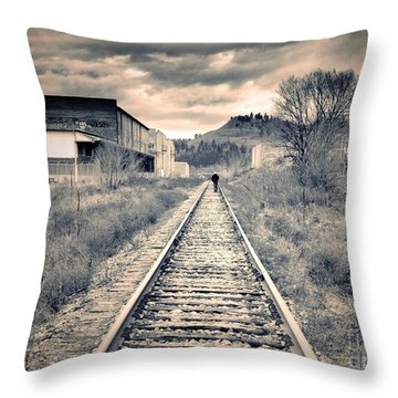 The Man On The Tracks Throw Pillow by Tara Turner