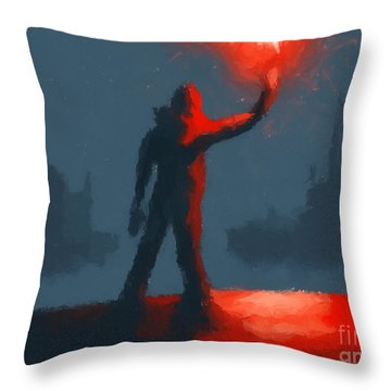 The Man With The Flare Throw Pillow by Pixel  Chimp