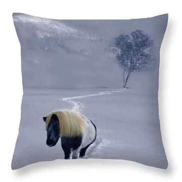 The Mane And The Mountain Throw Pillow by Wayne King