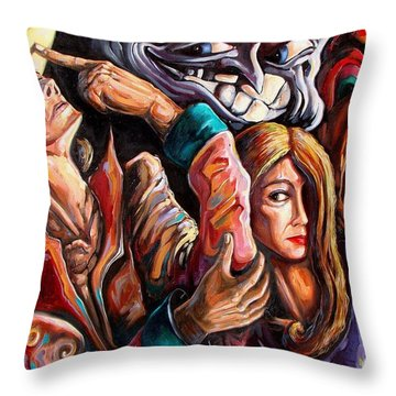 The Manipulation From The Anti-consciousness Monsters Throw Pillow by Darwin Leon