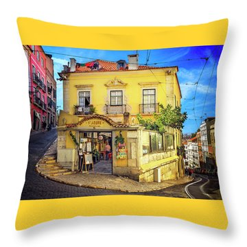Throw Pillow featuring the photograph The Many Colors Of Lisbon Old Town  by Carol Japp