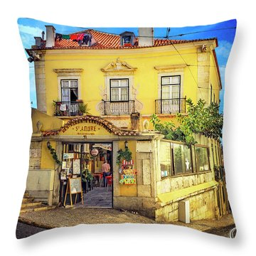 The Many Colors Of Lisbon Old Town  Throw Pillow