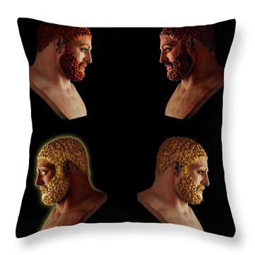 Throw Pillow featuring the mixed media The Many Faces Of Hercules 2 by Shawn Dall