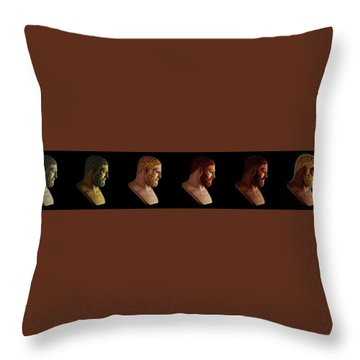 Throw Pillow featuring the mixed media The Many Faces Of Hercules by Shawn Dall