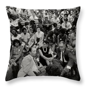 The March On Washington   A Crowd Of Seated Marchers Throw Pillow