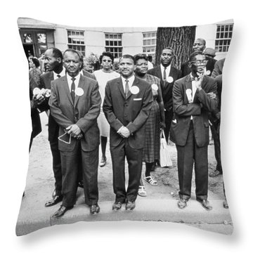 The March On Washington  Federal Aviation Agency Workers Watch The Marchers On Constitution Avenue Throw Pillow