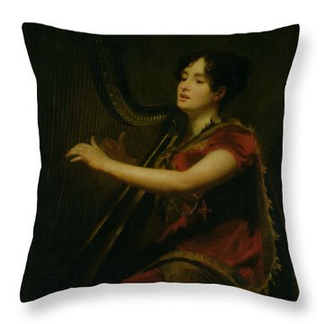 The Marchioness Of Northampton Playing A Harp Throw Pillow by Sir Henry Raeburn