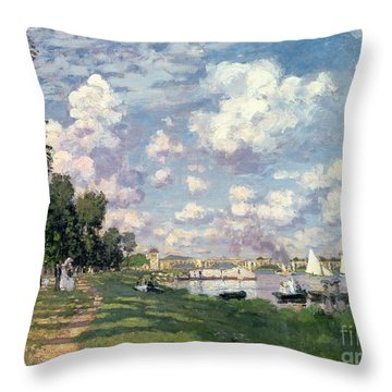 The Marina At Argenteuil Throw Pillow by Claude Monet