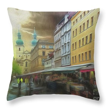 The Market In The Rain Throw Pillow