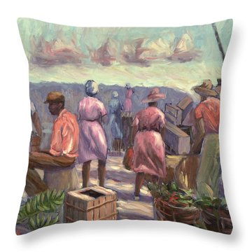 The Marketplace Throw Pillow by Carlton Murrell