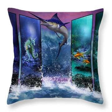 The Marlin And His Sea Friends  Throw Pillow by Ali Oppy