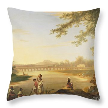The Marmalong Bridge Throw Pillow by William Hodges