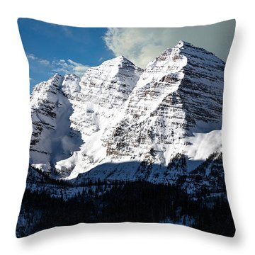 These Twin Peaks Outside Aspen Are Called The Maroon Bells  Throw Pillow