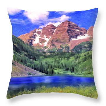 The Maroon Bells Throw Pillow by Dominic Piperata