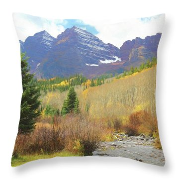 Throw Pillow featuring the photograph The Maroon Bells Reimagined 3 by Eric Glaser