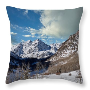 The Maroon Bells Twin Peaks Just Outside Aspen Throw Pillow