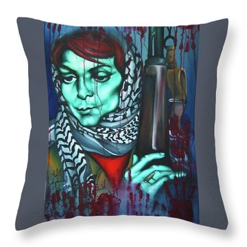 The Marriage Of Leila Khaled Throw Pillow by Khalid Hussein