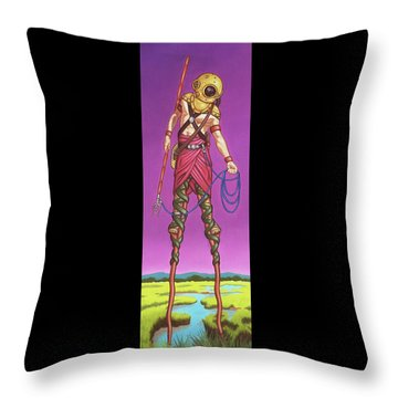 Throw Pillow featuring the painting The Marsh Runner by Paxton Mobley