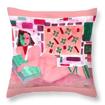 Throw Pillow featuring the painting The Mask by Paula Ayers