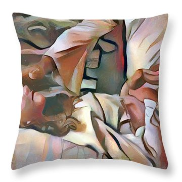 The Master's Hands - Healer Throw Pillow by Wayne Pascall